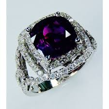 Natural Sapphire Color Chart Purple Cushion Natural Sapphire 4 86 Tcw 18kt White Gold