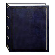 Pioneer Photo Albums Magnetic Self Stick 3 Ring Photo Album 100 Pages 50 Sheets Navy Blue