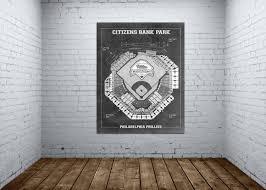 Vintage Print Of Citizens Bank Park Seating Charts Phillies