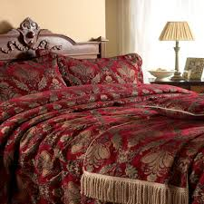 stunning red gold tapestry chenille throw