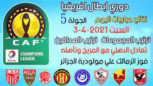 نتائج وترتيب مجموعات دوري ابطال افريقيا بعد انتهاء الجولة 5 اليوم السبت 3-4- 2021 وترتيب الهدافين - YouTube