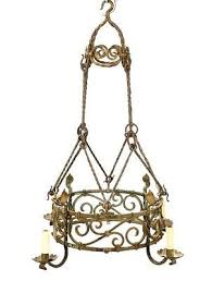 antique french provincial wrought iron chandelier late 19th early 20th century