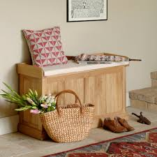 Natural Finish Oak Bench Dark Antique Bronze Hardware Simple Entryway  Benches With Storage Tan Cushion Removable Seat Cushion