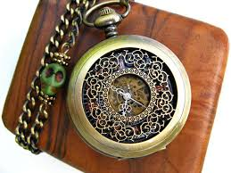 vintage pocket watch airship pirate pocket watch filigree engraved antique bronze mechanical pocket watch pocket watch chain