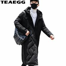new super popular teaegg warm parkas long winter jackets men 2018 black hooded jacket winter man