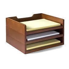 Bindertek Stacking Wood Desk Organizers 3 Letter Tray Kit Cherry Bdswk4ch