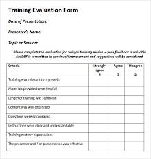 Evaluation Chart Sample Training Evaluation Form And Template Koolioo