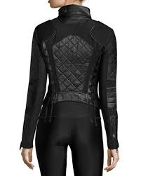 Blanc Noir Quilted Leather & Mesh Moto Jacket & Quilted Leather & Mesh Moto Jacket Adamdwight.com