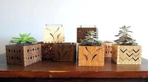 modern wooden flower pots wood succulent holder 2