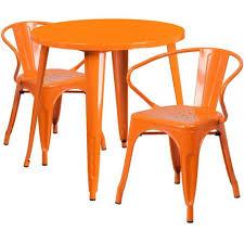orange metal table set 30 round