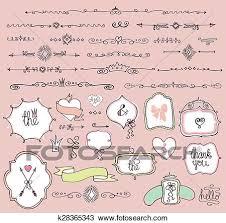 Labels With Border Doodle Labels Badges Frame Border Decor Element Love