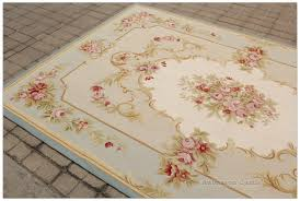 aubusson rug 6x9 vintage french pastel blue ivory pink