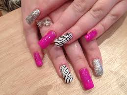 gel nail designs for fall 2014. gel nails with pinky purple polish and zebra print nail art designs for fall 2014