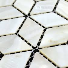 natural white shell tiles diamond mother of pearl mosaic tile bathroom mirrored wall backsplash deco