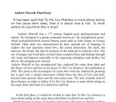 to his coy mistress andrew marvell analysis a level english document image preview