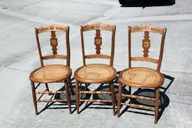 nice set of 3 solid walnut cane bottom chairs dining room
