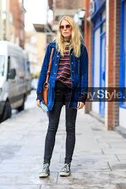 black denim black sneakers blue jacket camel bag converse denim pants