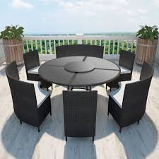 vidaxl outdoor dining set rattan table bench chair 13 piece patio wicker black