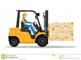 Forklift Truck With Man Driving Stock Vector Illustration Of