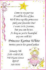 Little Princess Tea Party Invitations Wording To Invite Girls To