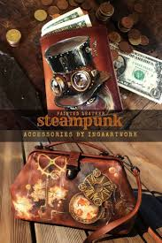 <b>Hand painted</b> natural leather accessories in <b>Steampunk</b> style ...