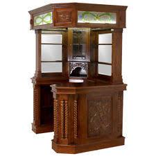 Solid Mahogany Corner Home Bar Furniture w Tiffany Glass Canopy Antique  Replica