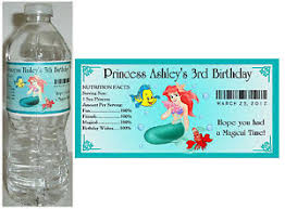 waterbottle labels 20 little mermaid ariel birthday water bottle labels ebay