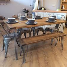 new handmade bespoke rustic retro industrial table and 4 bistro chairs and bench metal hairpin legs