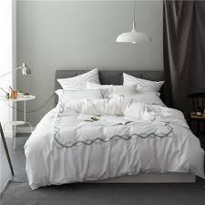 2017 4 pieces white embroidery luxury bedding set queen king size hotel bed set egyptian cotton