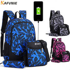 Online Shop 2018 New <b>3pcs USB Male</b> Girl <b>backpack</b> bag <b>set</b> red ...