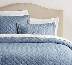 Quilts   Pottery Barn & Belgian Flax Linen Diamond Quilt & Sham - Blue Chambray ... Adamdwight.com