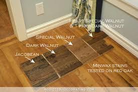 minwax stain colors tested on red oak hardwood flooring jacobean dark walnut special walnut 1