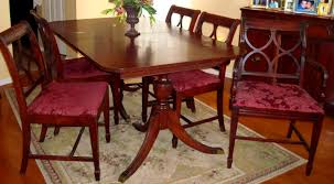 Duncan Phyfe S  Piece Mahogany Dining Room Set  Shield Back - Shield back dining room chairs