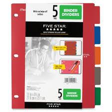 Five Star Multicolor 5 Tab Binder Dividers Servmart