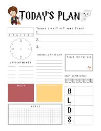Action Day Planner Template Harry Potter Free Printable Daily Planner The Cottage Market