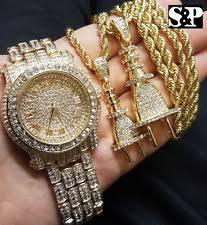mens gold diamond watch men luxury hip hop iced out lab diamond watch power plug 2 necklace combo set