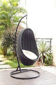 outdoor wicker rattan egg swing chair designs enticing polyester cushion black metal steel frame stand with