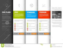 Pricing Template Product Service Pricing Comparison Table Template Stock Vector