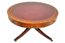 antique leather top coffee table heirloom regency style inlaid mahogany drum coffee table red leather top