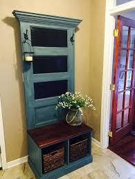 Antique Entryway Bench Coat Rack Reclaimed Vintage Door Hall Tree and Bench Antique doors Mud 39