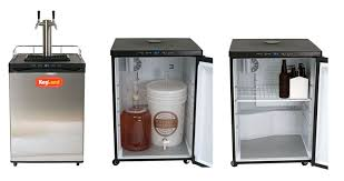 kegland dual tap kegerator large interior space for fermenting or converts to normal refrigerator with racks