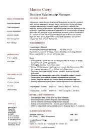 Business Relationship Manager resume