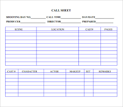 8 Sample Call Sheet Templates Free Sample Example Format