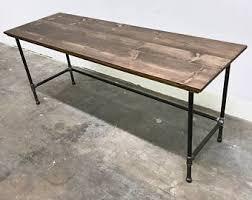steel pipe furniture. wayne desk 78x24 solid wood and steel pipe modern industrial furniture