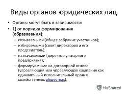 Презентация на тему Органы юридического лица Юридическое лицо  3 Виды органов юридических лиц Органы могут