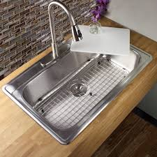stainless steel drop in sink. Delighful Stainless Shop 33 Inch 18Gauge Stainless Steel Dropin Single Bowl Kitchen Sink With  Cutting Board Drain And Grid  Free Shipping Today Overstockcom 9202732 With Drop In C