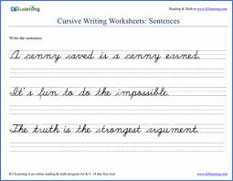 Writing Cursive Sentences Worksheets Free And Printable K5 Learning