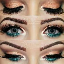 description gold peach and turquoise eye makeup