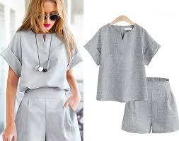 Acheter 2019 Femmes Summer Style Casual De Draps En Coton Haut Shirt  Féminin Pur Couleur Bureau Femme Costume Ensemble Costumes Chaude Courtes  Séries Pas Cher Prix - brooke---hogan