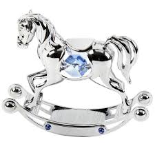 rocking horse crystocraft blue with swarovski crystals